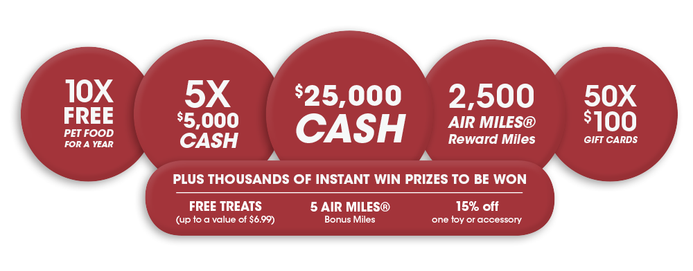 $25,000 Cash. 5X $5,000 Cash. 10X Free Pet Food For a Year. 2,500 AIR MILES® Reward Miles. 50X $100 Gift Cards. INSTANT WIN: Free Treats (up to a value of $6.99). INSTANT WIN: 5 AIR MILES® Bonus Miles. INSTANT WIN: 15% off one toy or accessory