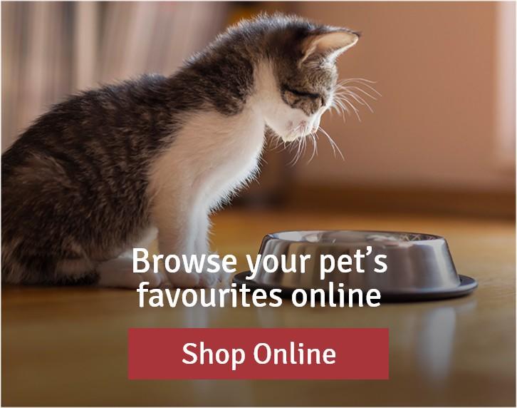 Browse your pet's favourites online. Shop Online.
